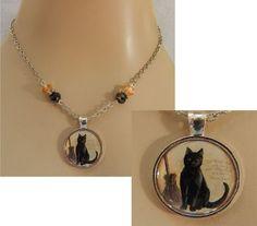 Halloween Black Cat & Broom Pendant Necklace Jewelry Handmade Silver Adjustabl #Handmade #Chain