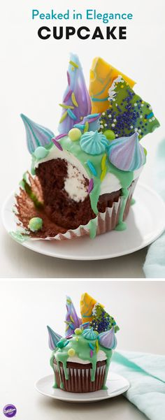 This Peaked in Elegance Cupcake has it all! Topped with delicious glaze, meringue cookies, candy shards and colorful sprinkles, this stunning cupcake idea is sure to turn heads. A fun idea for birthday cupcakes, edible wedding favors or even showers of any kind, these cupcakes will surely impress friends and family!