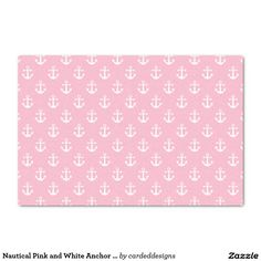 "Nautical Pink and White Anchor Pattern 10"" X 15"" Tissue Paper"