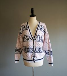 Vintage NAUTICAL Hand KNIT Cardigan m by heightofvintage on Etsy, $40.00