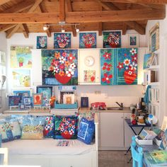 Nice tidy studio, ready for an open day! My Art Studio, Small Studio, The Beautiful South, Red Geraniums, Old Things, Things To Come, Greek House, Walled Garden, English Artists