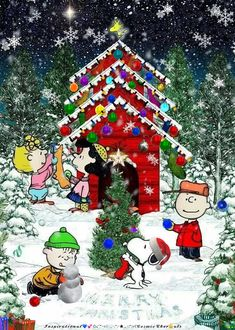 Christmas - Charlie Brown Snoopy & The Peanuts Gang Winter Christmas Scenes, Merry Christmas Pictures, Christmas Scenery, Merry Christmas Images, Peanuts Christmas, Merry Christmas Wishes, Vintage Christmas Images, Christmas Cartoons, Christmas Art