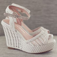 Vintage wedding shoes. The 70's beach bridal wedges. http://www.foreversoles.com Photo by: Lyss and her Camera