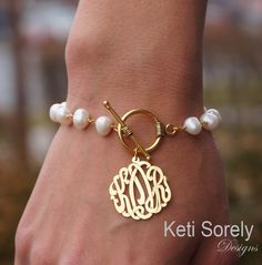 Monogram Initials Bracelet with Cultured White Pearls - Toggle Bracelet (Order Your Initials) Sterling Silver, Yellow Gold or Rose Gold Bracelet Initial, Pearl Bracelet, Letter Necklace, Ankle Bracelets, Jewelry Bracelets, Stackable Bracelets, Charm Necklaces, Dainty Bracelets, Jewellery