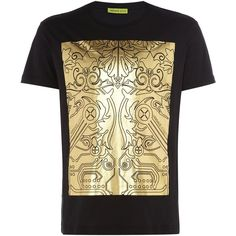 Versace Jeans Regular Fit Metallic Block Printed T-shirt ( 93) ❤ liked on 1b380b77d1e