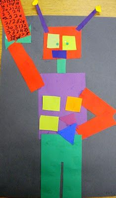K-2 - Geometric shape Robots - scrap use (EOY or BOY or Sub lesson)