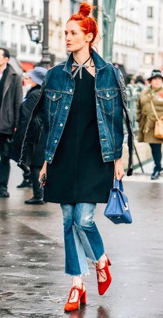 Taylor Tomasi Hill. Denim Jacket. Street Style, Tommy Ton. PFW. Paris Fashion Week
