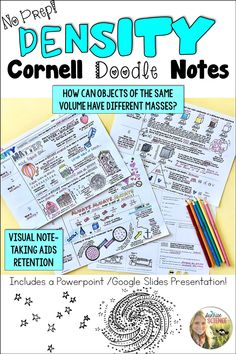 Try these no-prep, scaffolded Cornell Doodle Notes to teach about the concept of density as a property of matter! Includes a Powerpoint or Google Slides presentation to make delivery of the lesson easy-peasy!