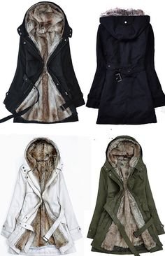 Faux fur warm coat winter coat black  coat hoodie by Fashiondress1