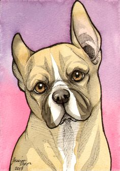 French Bulldog, done in pen and water color. www.facebook.com/jessielp
