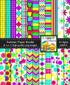 Brighten up your products with our Summer background paper bundle! 24 colourful, as well as, vibrant PNG file digital papers are included in this set! Once purchased, backgrounds can be used for personal or commercial purposes. Kindly remember to include a link back to our TPT store: http://www.teacherspayteachers.com/Store/2-Smart-Chicks Happy creating!