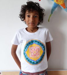 Hand painted  mandala child T shirt One-of-a-kind by WearBeauty