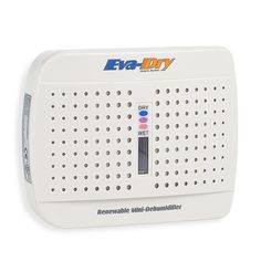 Eva-Dry Renewable Mini-Dehumidifier provides dampness protection that is ideal for small spaces such as cabinets, safes and closets. This dehumidifier silently and reliably protects clothes and valuables from mold, mildew and moisture.