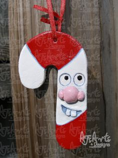 OOAK  Candy Cane Paperclay Ornament by ajsarts on Etsy, $7.00