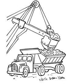 Excavator And Biggest Dump Truck Coloring Sheet
