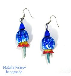 New Polymer Clay Earrings Blue-White Wrinkled Cup by NataPi