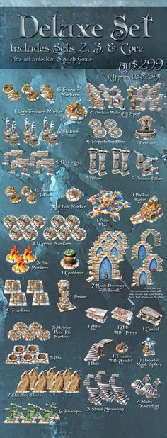 A complete range of scatter terrain pieces that fulfills all the needs of the scenarios for The Frozen City and its expansions.