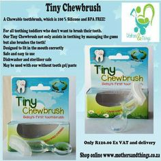 Chewable toothbrush for teething toddlers. Bpa free and 100 % food grade silicone. Shop online www.mothersandthings.co.za