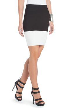 Scarlett Color-Blocked Power Skirt | BCBG