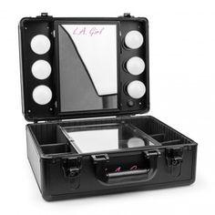LA Girl Pro Studio Cosmetic Makeup Light Up Mirrored Train Case