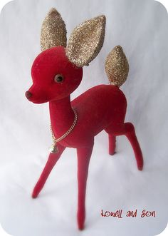 One of my many flocked and glittered vintage reindeer.