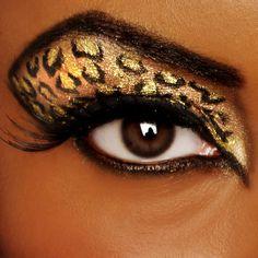 quenalbertini: Leopard eye make up Makeup Art, Beauty Makeup, Hair Makeup, Gold Makeup, Makeup Eyes, Makeup Style, Crazy Makeup, Makeup Looks, Leopard Eyes