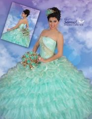 Wholesale 2016 new sweet 15 dress Mint green gold embellishment ruffled organza quinceanera ball gown RF18 http://www.topdesignbridal.net/wholesale-2016-new-sweet-15-dress-mint-green-gold-embellishment-ruffled-organza-quinceanera-ball-gown-rf18_p4060.html