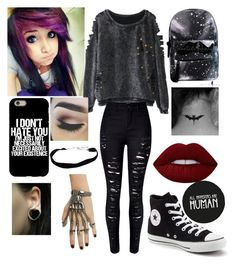 """Just A Normal Emo Day"" by deadinside0120 on Polyvore featuring WithChic, Converse and Lime Crime"