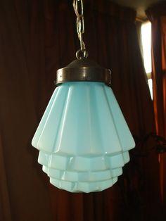 A.campos- Lustre - Luminária Em Opalina Azul - Art Deco