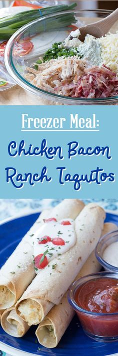 Freezer Meal: Chicken Bacon Ranch Taquitos!  This is a family favorite and we ALWAYS keeps some of these in the freezer for quick and easy dinners. Creamy, cheesy chicken with bacon and a hint of ranch, inside a toasted rolled tortilla!  #freezermeal #freezerrecipe #freezercooking