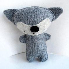 Silver Gray Fox - Recycled Wool Plush Toy by sighfoo on Etsy Grey Fox, Handmade Toys, Wool Sweaters, Some Fun, Pup, Dinosaur Stuffed Animal, Recycling, Teddy Bear, Shapes