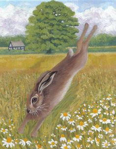 Running Hare Blank Greeting Card by JaneysArtStudio on Etsy, £1.80