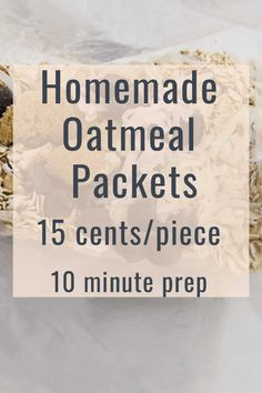 Be thrifty and make your own homemade oatmeal packets for 15 cents a piece! Control what goes into each packet! Meal Prep this in 10 minutes! #mealprep #oatmeal #frugal #frugality #breakfast