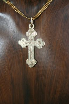SALE...Vintage 14K Gold Russian Cross Pendant Stunning  Very