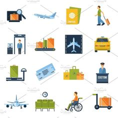 Airport icons flat set by Macrovector on @creativemarket