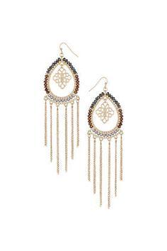 Créoles ovales ornées de perles et de chaînes