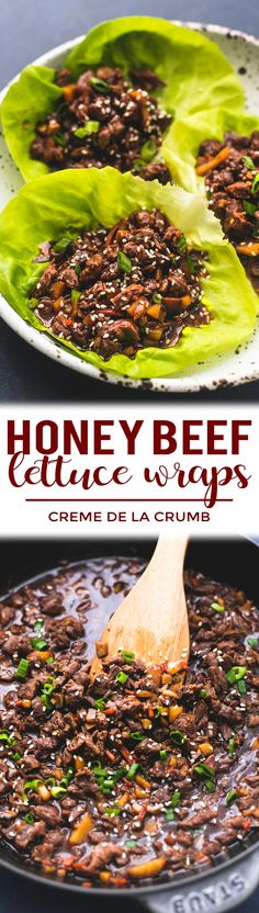 Easy 20-minute Honey Beef Lettuce Wraps are loaded with savory tangy Asian flavors and are the perfect appetizer or main dish! | lecremedelacrumb.com #lettucewraps #easyrecipe #dinnerrecipe #appetizer #asian #quickandeasy