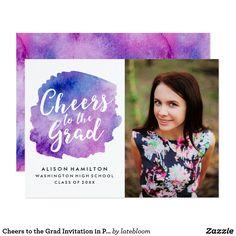 Cheers to the Grad Invitation in Purple