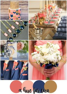 Coral, Peach, Navy and Gold Summer Wedding Colour Scheme - Wedding Colors - Wedding Blog - A Hue For Two   http://www.ahuefortwo.com
