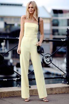 minimalist pastel yellow jumpsuit