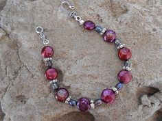 Hand made bracelet/anklet burgundy coin pearls and by KANDYLEES