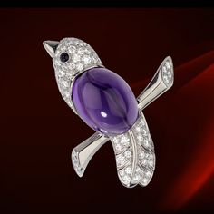 Cartier bird on a branch brooch. White gold, diamonds, amethyst, and onyx.