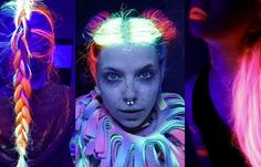 Glow-in-the-dark hair is the bright new beauty trend for 2016 - CosmopolitanUK Beauty Trends, Beauty Hacks, Beauty Tips, Makeup For Teens, Beauty Tutorials, Cosmopolitan, Dark Hair, Hair Hacks, Body Painting