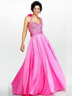 Halter Beaded A Line Hot Pink Evening Dress