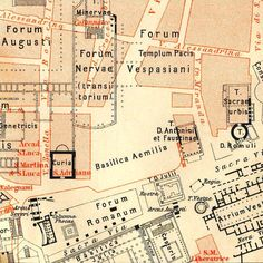 1890 Antique Map Ancient Rome Fora Caesarum by CarambasVintage, $20.00