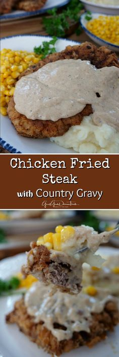 Chicken Fried Steak with Country Gravy is fried to perfection, cripsy and crunchy, and then is smothered in a white, creamy, country gravy served with creamy mashed potatoes and delicious whole kernel buttery corn, for a perfect southern style meal. #chickenfriedsteak #countrygravy #comfortfood