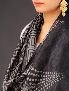 Black-Ecru Tussar Silk Batik Printed Stole