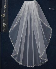 Beautiful Beading on this JL Johnson Bridals C357 Fingertip Wedding Veil! affordableelegancebridal.com
