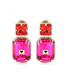 Designer Clothes, Shoes & Bags for Women Pink Earrings, Crystal Earrings, Dangle Earrings, Jewelry 2014, Jewelry Trends, Pink Fashion, Beach Fashion, Luxury Fashion, Fashion Outfits