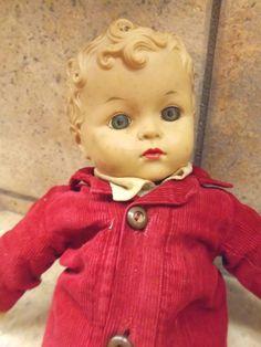 """1950's boy doll Cloth body/vinyl head -17"""" tall"""